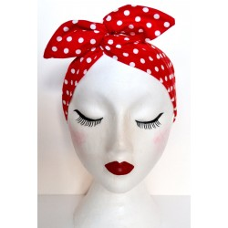Red Polka Bow Wire Headband Rockabilly
