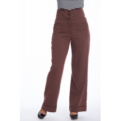 Banned Retro 50s Girl Boss Trousers Brown