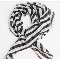 Retro Pin-Up Black & White Striped Hair Scarf