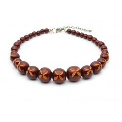 Walnut Carved Bead Necklace