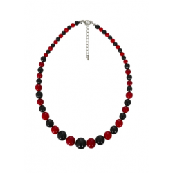 Collectif Natalie Bead Necklace Red & Black