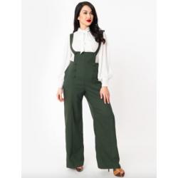 Unique Vintage Green Geena Pinafore Pants