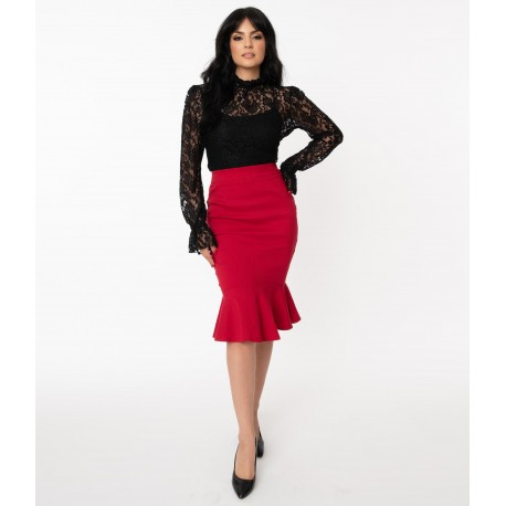 Unique Vintage Red Lizette Wiggle Skirt