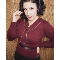 Hell Bunny Connie Sweater Burgundy