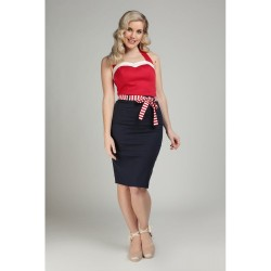 Collectif Marinella Pencil Skirt Navy