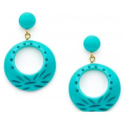Nymph Carved Drop Hoop Earrings