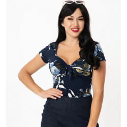 Unique Vintage Sweetheart Rosemary Top Navy
