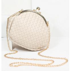 Unique Vintage Cream Woven Handbag