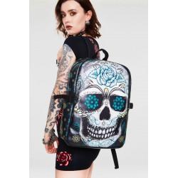 Jawbreaker Blue Floral Skull Backpack