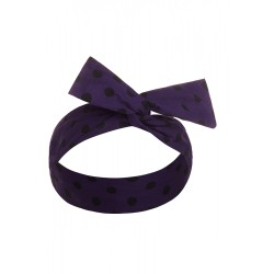 50's Bow Headband Purple & Black Polka Dots