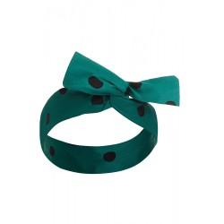 50's Bow Headband Turquoise & Black Polka Dots