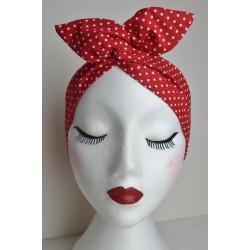 Red Polka Bow Wire Headband Rockabilly