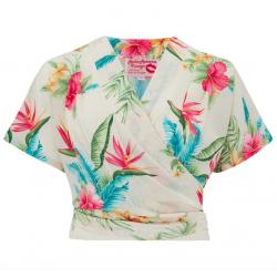 Darla Wrap Blouse White Honolulu Vintage Style