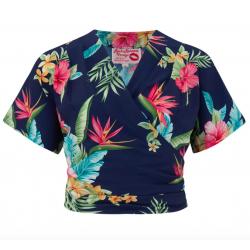 Darla Wrap Blouse Navy Honolulu Vintage Style