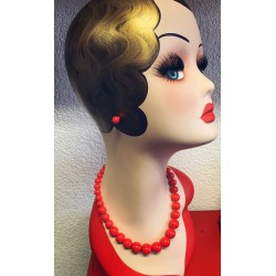 Collectif Natalie Bead Necklace Set Red