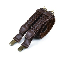Braided Leather Clip-On Braces