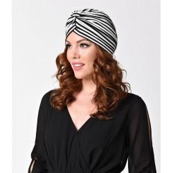Unique Vintage Black & White Striped Turban