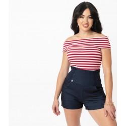 Unique Vintage Denim Nautical Sandy Shorts