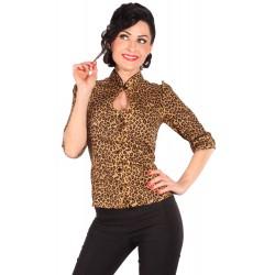 Leopard Keyhole Rockabilly Blouse