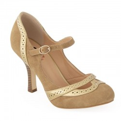 Banned Retro Brogue Heels Shoes Tan
