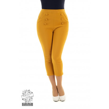 Hearts & Roses 50's Barbara Gold Capri Pants