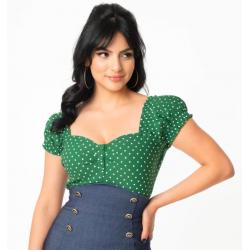 Unique Vintage Green Dots Sweetheart Top