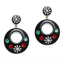 Atomic Snowflake Drop Hoop Earrings