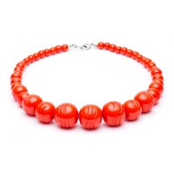 Papaya Heavy Carve Fakelite Bead Necklace