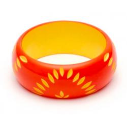 Wide Sunset Carved Bangle