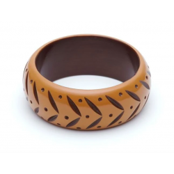 Wide Almond Carved Bangle
