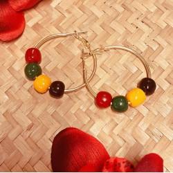 Multicoloured Fakelite Bead Hoop Earrings