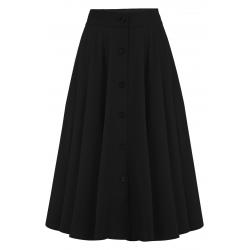Beverly 50's Button & Pockets Skirt Black