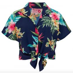 Maria Blouse Navy Honolulu Vintage Style