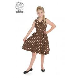 Hearts & Roses Polka Dots Swing Dress Brown