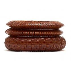 Set of 3 Mid Brown Woven Bamboo Bangles