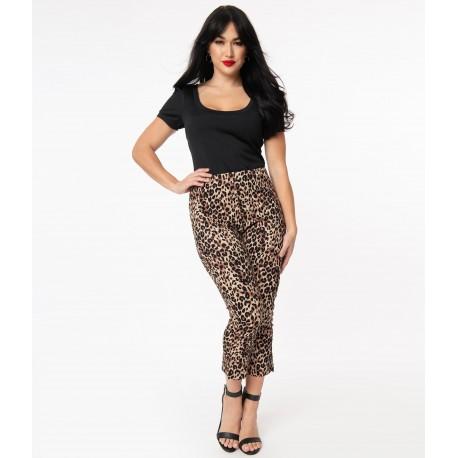 Unique Vintage Leopard Rachelle Capri Pants